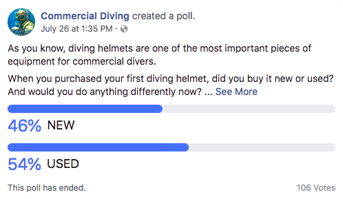 new vs used commercial diving helmets
